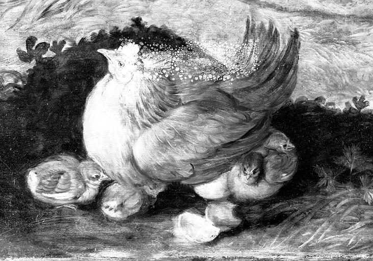 Panneau peint, détail : La poule et ses poussins