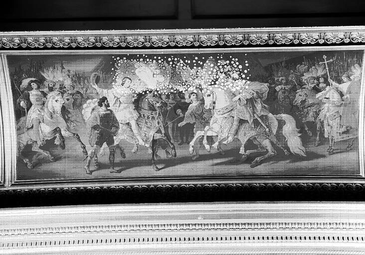 Galerie Campana, voussure sud de la 5e salle (panneau central) : Entrevue de François 1er et Henri VIII au camp du Drap d'Or