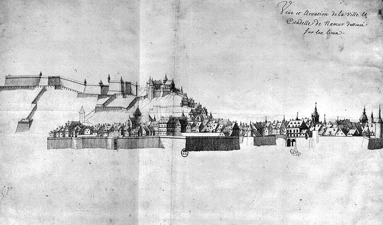 Vue et élévation de la ville et de la citadelle dessinée sur les lieux