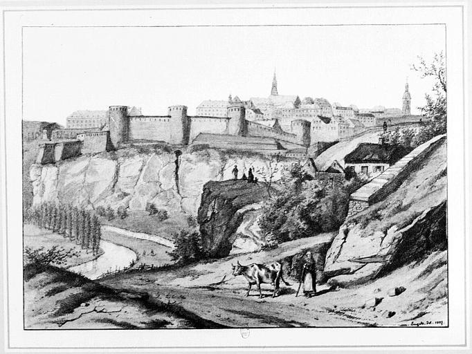 Dessin : Vue générale de la ville et des remparts