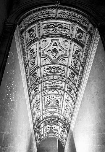 Escalier Henri II : Plafond à caissons de la 2e volée