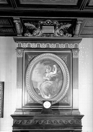 Direction des Musées, Peinture de la cheminée du bureau : Terpsichore (d'après le tableau de l'hôtel Lambert conservé au Louvre)