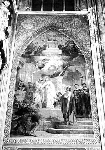 Peinture murale de la chapelle Sainte-Valère : Valère et Suzanne sa mère sont converties par saint Martial