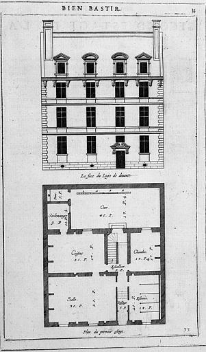 Gravure : Plan du 1e étage et élévation de la façade (Deuxième distribution de la 8e place)