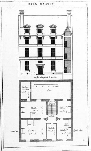 Gravure : Plan du 2e étage et élévation de la façade (Deuxième distribution de la 8e place)
