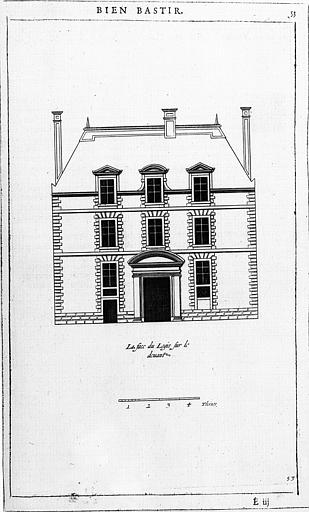 Gravure : Elévation de la façade principale du corps de logis (9e place)