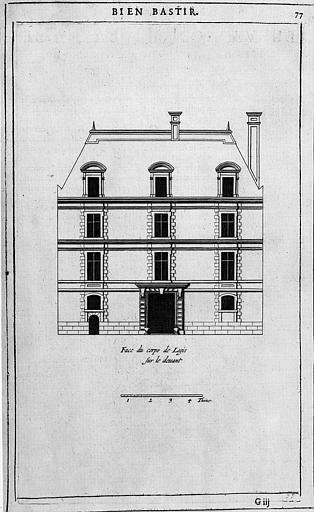 Gravure : Elévation de la façade principale du corps de logis (5e distribution de la 9e place)
