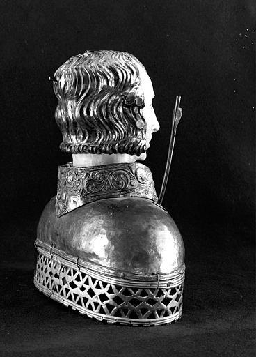 Buste-reliquaire de saint Sébastien (trois-quarts dos)