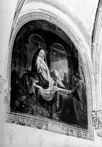 Peinture murale de la chapelle du Sacré-Coeur (1e chapelle à gauche du choeur), 9e travée : Les saintes femmes au tombeau