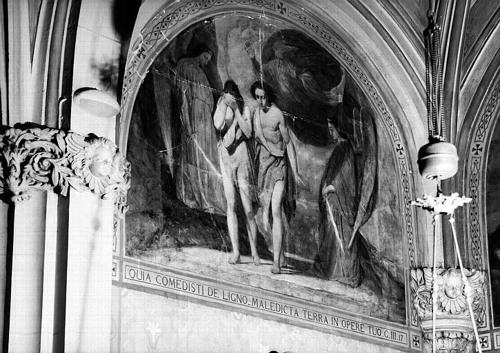 Peinture murale de la chapelle du Sacré-Coeur (1e chapelle à gauche du choeur), 9e travée : Adam et Eve chassés du paradis terrestre