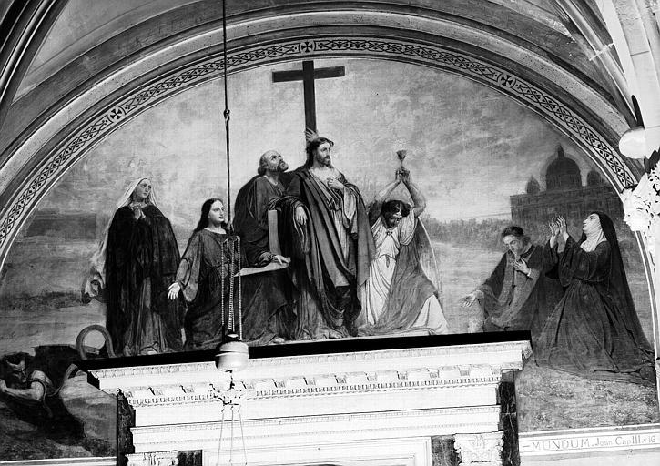 Peinture murale de la chapelle du Sacré-Coeur (1e chapelle à gauche du choeur), 9e travée : La glorification de la Croix
