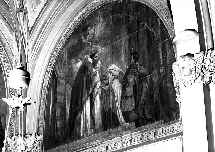 Peinture murale de la chapelle du Sacré-Coeur (1e chapelle à gauche du choeur), 9e travée : La profanation de l'hostie