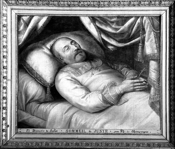 Peinture sur toile du choeur : Saint François de Sales, Le Sommeil du Juste