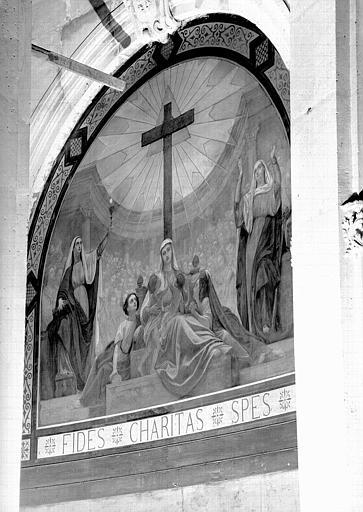 Peinture murale du choeur : La Foi, l'Espérance et la Charité