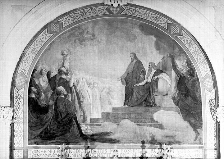 Peinture murale du choeur : Jésus et l'Eternel recevant les bienheureux