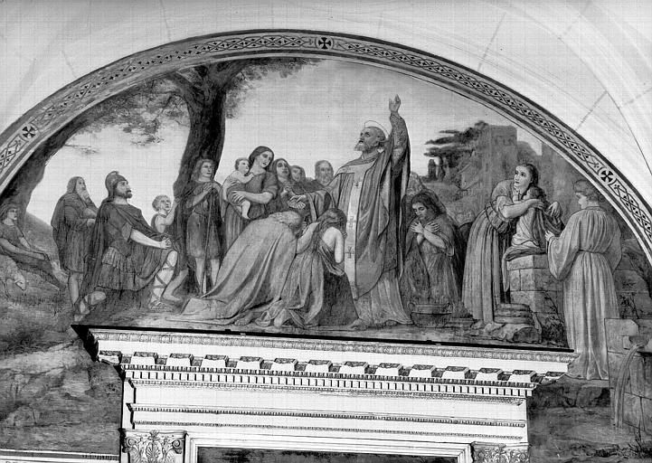 Peinture murale de la chapelle Saint-Leu, 9e travée droite : Prédication de saint Leu ?