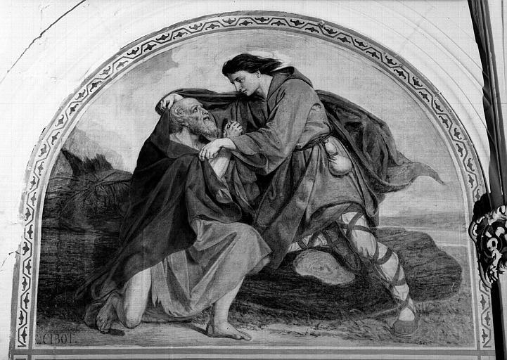 Peinture murale de la chapelle Saint-Leu, 9e travée droite : Saint Leu donnant son vêtement à un pauvre