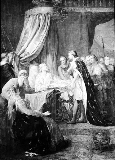 Peinture sur toile de la chapelle : Mort de Saint Louis