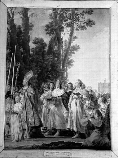 Peinture sur toile de la chapelle : Saint Louis transportant la Couronne d'Epines à la Sainte-Chapelle