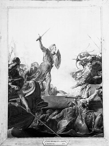 Peinture sur toile de la chapelle : Saint Louis débarquant en Egypte