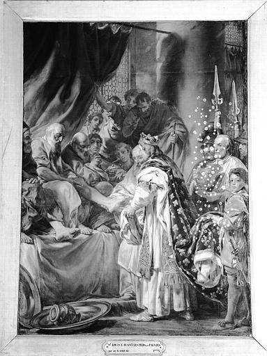 Peinture sur toile de la chapelle : Saint Louis lavant les pieds aux pauvres