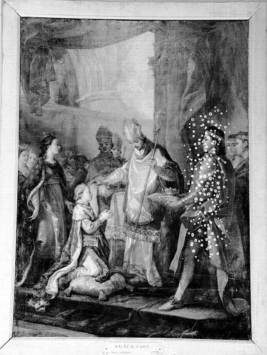 Peinture sur toile de la chapelle : Sacre de Saint Louis