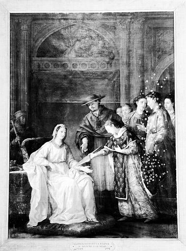 Peinture sur toile de la chapelle : Saint Louis remettant la régence du royaume à sa mère