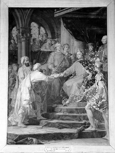 Peinture sur toile de la chapelle : Saint Louis recevant les ambassadeurs du roi de Tartarie