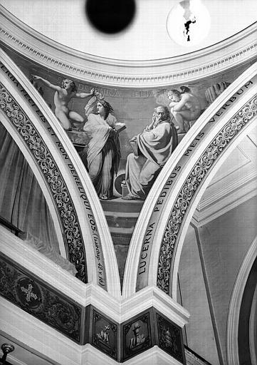 Peinture murale d'un pendentif de la coupole de la chapelle : Elie et la sybille Delphique