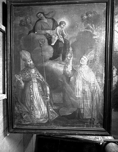 Peinture sur toile : Saint Quenin et saint Martin agenouillés devant la Vierge