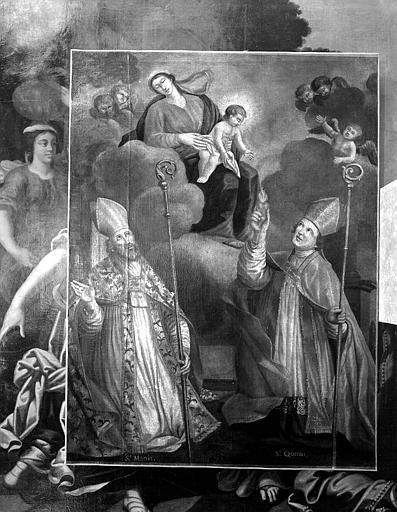 Tableau : 'Saint Martin de Tours et saint Quenin, évêque de Vaison, aux pieds de la Vierge', huile sur toile
