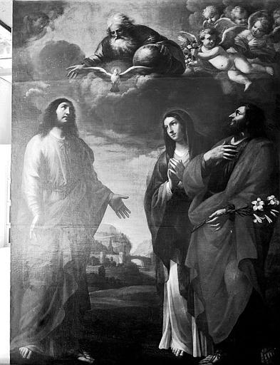 Tableau : 'Les deux familles du Christ', huile sur toile