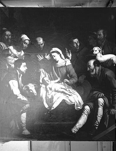 Tableau : 'L'Adoration des bergers', huile sur toile