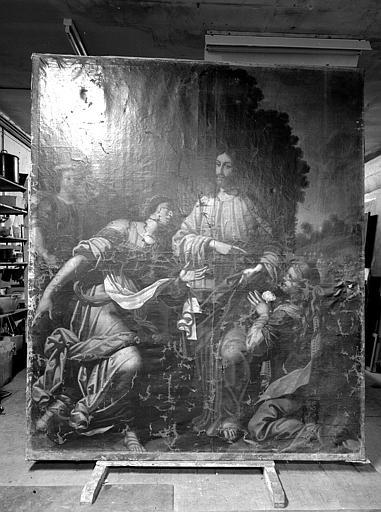 Tableau : 'Le Christ chez Marthe et Marie', huile sur toile ; en cours de restauration