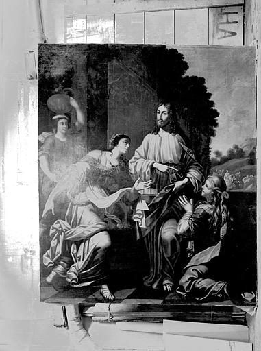 Tableau : 'Le Christ chez Marthe et Marie', huile sur toile
