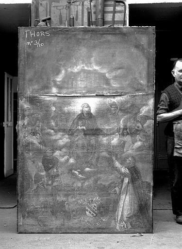 Peinture sur toile : L'Institution du Rosaire (don de Jean de Séraucourt, commandeur de Thors 1597-1633)