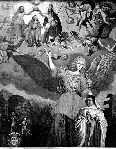 Tableau : 'Le couronnement de la Vierge montré par un ange à un orant', huile sur toile ; après restauration