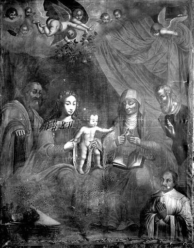 Tableau : 'La Sainte Famille avec sainte Anne pelant une pomme pour l'Enfant', présence d'un orant ; après restauration
