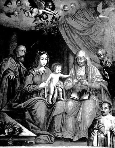 Tableau : 'La Sainte Famille avec sainte Anne pelant une pomme pour l'Enfant', présence d'un orant ; avant restauration