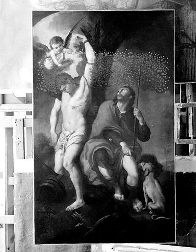 Peinture sur toile : Saint Roch et saint Sébastien