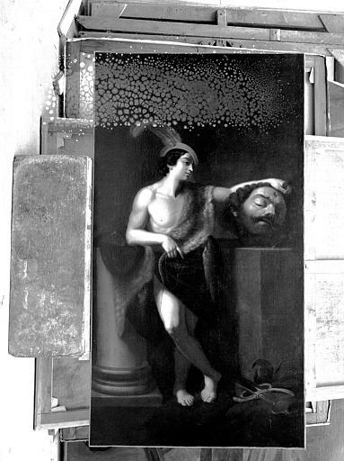 Peinture sur toile : David tenant la tête de Goliath