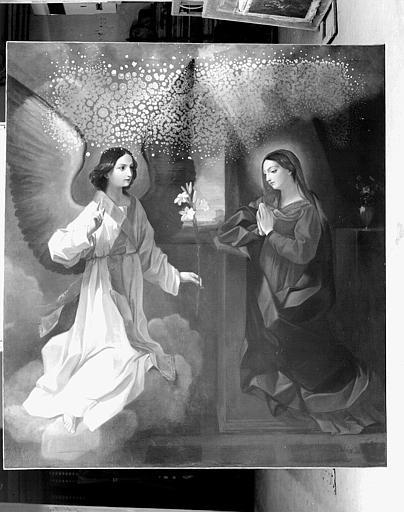 Peinture sur toile (panneau latéral gauche du retable du maître-autel) : L'Annonciation