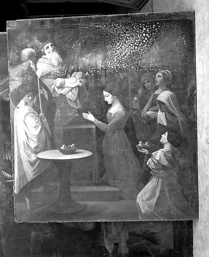 Peinture sur toile (panneau latéral droit du retable du maître-autel) : Présentation au Temple