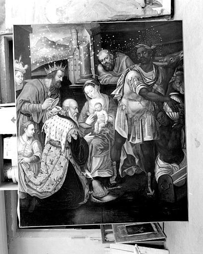 Peinture sur toile (panneau central du retable du maître-autel) : Adoration des mages