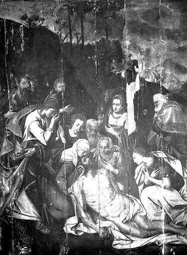 Panneau en bois peint : Déposition de Croix