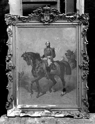 Peinture sur toile et cadre : Portrait équestre du Comte de Chambord