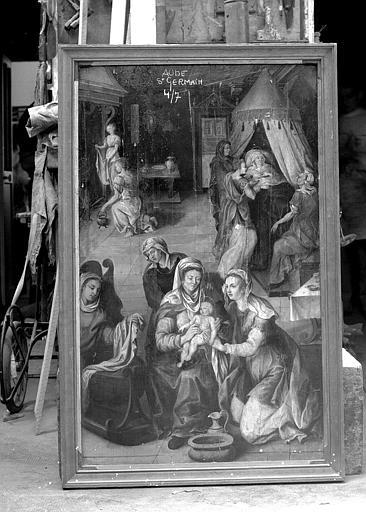 Panneau en bois peint du retable : Naissance de la Vierge