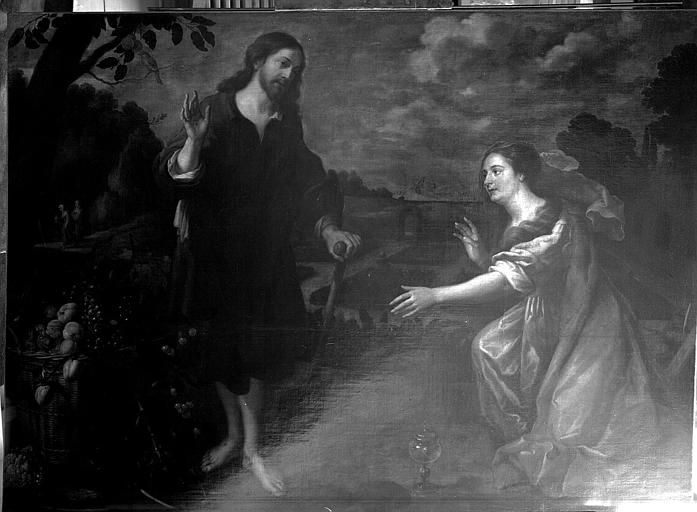 Peinture sur toile : Le Christ et la Madeleine