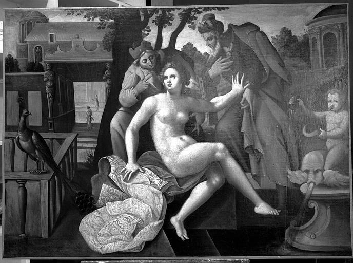 Peinture sur toile (faisant partie d'une suite de cinq toiles) : Scène de la vie de sainte Suzanne, Suzanne et les Vieillards