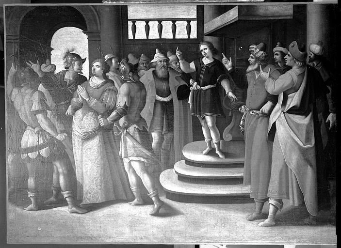 Peinture sur toile (faisant partie d'une suite de cinq toiles) : Scène de la vie de sainte Suzanne